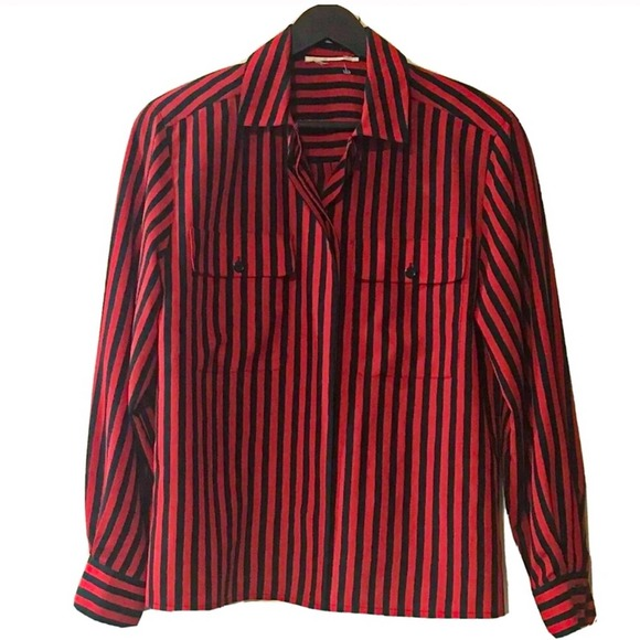 Black and Red Pinstripe Button Down Shirt